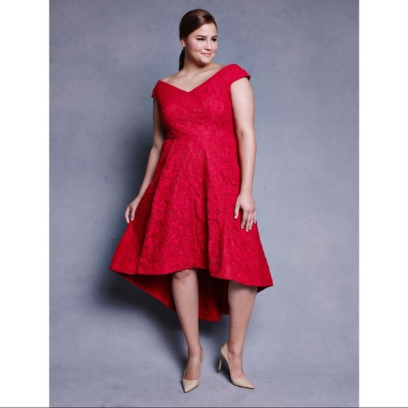 abe12771141 NWT Lela Rose for Lane Bryant Red Lace Dress